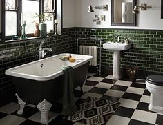 Distinctively Individual Bathrooms from Heritage® - Wynwood Heritage Bathroom Collection - 1930s Bathroom, Art Deco Bathroom, Victorian Bathroom, Vintage Bathrooms, Bathroom Interior, Green Bathroom Tiles, Silver Bathroom, Bathroom Black, Luxury Bathrooms