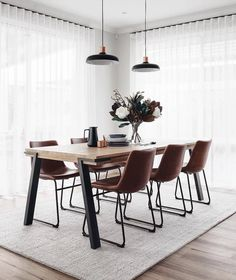 The dining room was one of my favourite spaces that came together last week 🍽 It has such a calmness about it and the most divine morning… Dining Room Inspiration, Home Decor Inspiration, Dining Room Design, Dining Room Table, Carpet Dining Room, Dining Room Curtains, Modern Dining Table, Kitchen Dining, Room Interior