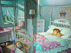 "bedroom scene. From ""My Goodnight Book"" by Eloise Wilkin."