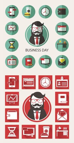 Business Day. Icons. by Katerina moryachok, via Behance