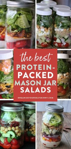 The Best Protein-Packed Mason Jar Salads   Healthy Lunch Recipes - Want to increase your vegetable consumption with a healthy salad for lunch on weekdays? Here are my top 8 protein mason jar salads that I eat about every week and meal prep ahead of time. Organize Yourself Skinny   Healthy Meal Prep Tips   Meal Prep for Beginners   Meal Prep Dinner   Keto Recipes   Low Carb Recipes   Weight Loss Recipes   Meal Planning Recipes   How To Lose Weight   Healthy Lunch Recipes   Mason Jar Salad… Quick Healthy Lunch, Healthy Freezer Meals, Healthy Eating Recipes, Healthy Meal Prep, Keto Meal, Healthy Snacks, Great Salad Recipes, Lunch Recipes, Keto Recipes