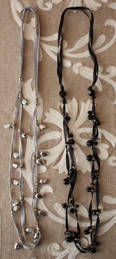 Sadie Priss: Ribbon Necklace Knock-Off Ribbon Jewelry, Ribbon Necklace, Fabric Jewelry, Diy Necklace, Beaded Jewelry, Jewelry Necklaces, Necklace Tutorial, Diy Bracelet, Bracelets
