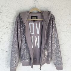 Victoria's Secret PINK Leopard Foil Fuzzy Hoodie Limited edition fashion show hoodie. Says love pink on the inside. Good used condition. No flaws or damage.   ❌No Trades Free Gift with purchase of $20 or more from my closet (not including shipping) Ships next day unless purchased on a Saturday or Holiday PINK Victoria's Secret Sweaters