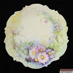 1891-1914-Coiffe-Limoges-Porcelain-9-25-HP-Pink-Purple-Daisies-Plate-Victorian
