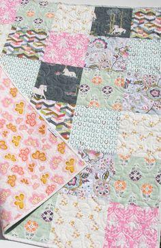 Unicorn Quilt, Modern Baby Blanket, Grey Pink Mint Green, Horseshoes Western, Chevron, Horse Crib Bedding, Nursery Fantasia Art Gallery by SunnysideDesigns2