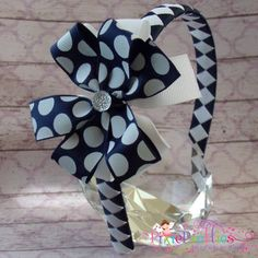 2-pc Navy & White Polka Dot Layered Pinwheel Bow Headband