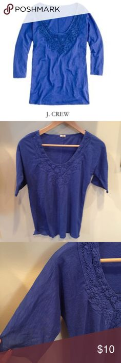"""J. Crew Lace Necklace Tee J. Crew Lace Necklace Tee. Half sleeve. 16"""" bust. 24"""" long. Gently worn. Great condition. Feel free to make an offer or bundle & save! J. Crew Tops"""