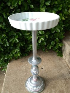 bird baths made from lamps | ... on the bottom, made into a side table, bird bath or even bird feeder