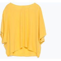 Zara Top With Kimono Sleeves ($20) ❤ liked on Polyvore featuring tops, pumpkin, zara top, kimono sleeve top and yellow top