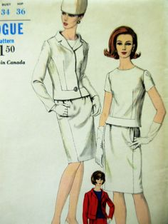 Vintage Vogue 6552 Sewing Pattern, 1960s Suit Pattern, Mod Dress Pattern, 1960s Sewing Pattern, 60s Pattern, Bust 34, Two Piece Dress by sewbettyanddot on Etsy