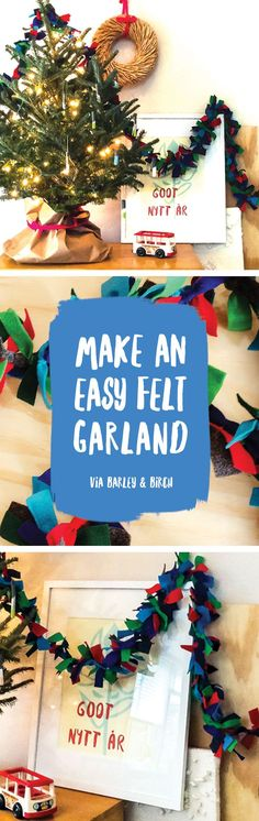 This felt garland DIY only takes 30 minutes, felt & a piece of twine, and is a perfect holiday activity for kids | via barley & birch