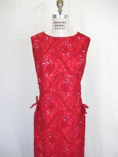 1960's Rasberry Red Beaded Long Gown