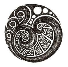 From aplaceforart: reminds me of the Maori koru Koru Tattoo, Ta Moko Tattoo, Zentangle, Maori Designs, Maori Art, Spirited Art, Doodle Designs, Body Art Tattoos, Pointillism