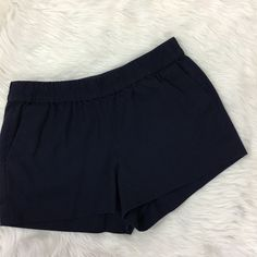 J Crew Factory Navy Boardwalk Pull On Shorts Sz 8 Elastic Waist 100% Cotton 3"