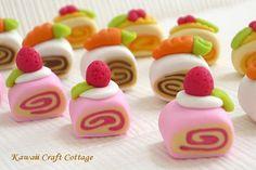 Unique, handmade, cute, miniature, Swiss Roll, Sliced Cake, Cakes, thumbtacks, push pins, Polymer clay, Thumbtack