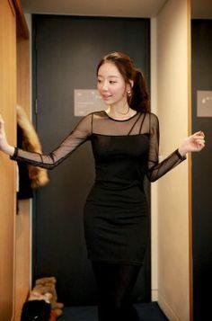 Chic Feminine Style Gauze Matching See Through Wrap Zipper Long Sleeve Dress