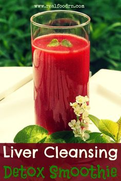 Liver Cleansing Detox Smoothie - Vegetable smoothie (beets, carrots, apple, lemon and dandelion greens).