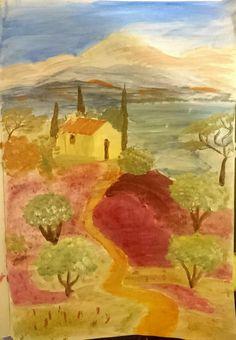 Landscape study ~  Acrylic on paper #paint #acrylic #landscape #watercolor #diy