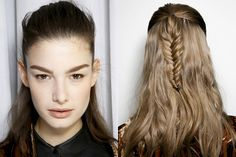 Backstage Beauty: The 3 Best Hair Looks From the Milan Runways: Daily Beauty Reporter :  While we loved the romantic updos at Dolce & Gabbana and the slicked-back ponys at Bottega Veneta, the three hair looks that really caught our eye in Milan were all a little out there. Whether it was the lowest-of-the-low...