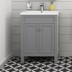 600mm Melbourne Earl Grey Double Door Floor Standing Vanity Unit - soak.com