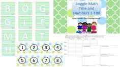 Boggle Math- Blue/Green Theme