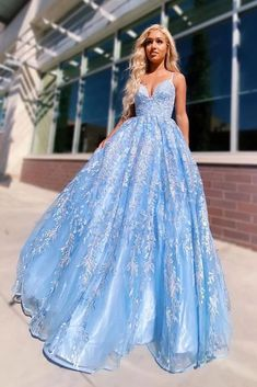 Flowy Ball Gown Light Blue Spaghetti Straps Prom Dresses, Lace Appliques Backless Prom Gowns STK, This dress could be custom made, there are no extra cost to do custom size and color.
