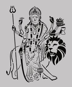 Durga Maa Paintings, Durga Painting, Cute Best Friend Drawings, Durga Goddess, Goddess Art, Tattoo Coloring Book, Stencil Art, Stencil Designs, Laser Art
