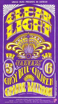 Classic Poster - Clear Light at Grande Ballroom 1/5 & 6/68 by Gary Grimshaw