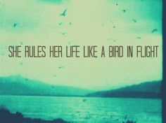 she rules her life like a bird in flight.