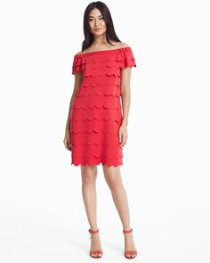 Off-the-Shoulder Scalloped Tiered Shift Dress