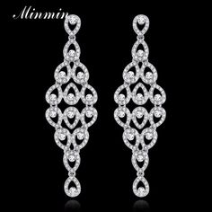 Minmin Exquisite Trendy Jewelry Fine Crystal Earrings for Wedding Accesory Gorgeous Drop Earrings for Women EH281