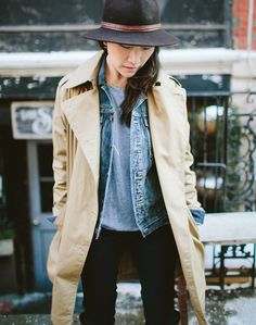 noticed: the layered jean jacket. that's the classic madewell jean jacket and khaki belted trench coat. #denimmadewell