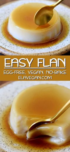 Tasty vegan flan that melts in your mouth. This crème caramel is a no-bake dessert recipe that is egg-free, dairy-free, soy-free, and very easy to make. Caramel Custard Recipe, Custard Recipes, Caramel Recipes, Pudding Desserts, Vegan Dessert Recipes, Whole Food Recipes, Creme Caramel, Caramel Vegan, Vegan Treats