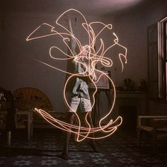 "Pablo Picasso ""paints"" with light, photographed for Life Magazine by Gjon Mili, 1949."