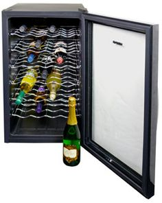 NewAir AW-280E Classic 28 Bottle Thermoelectric Wine Cooler - Black. http://www.air-n-water.com/product/aw-280e.htm