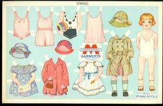 Miss Minne Apolis Uncut Paper Doll - Spring, Minneapolis Garments c1920s