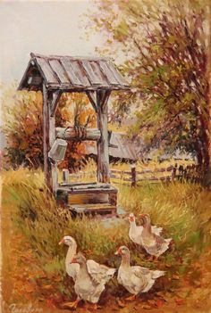 Geese at the well Winter Landscape, Landscape Art, Wells, Pin Art, Wishing Well, Farm Life, Beautiful Landscapes, Anime Art, Scenery