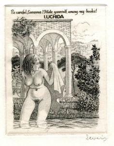 Exlibris ex libris erotic bookplate by Mark Severin (B) for I. Uchida (C2) in Art & Antiquités, Arts, Gravures | eBay