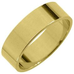 Jewelry Masters : Mens 14KT Yellow Gold 6mm High Gloss Flat Wedding Band [14-AY] - $475.00 (950.00)