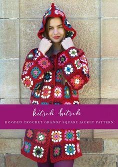 DIY hooded crochet granny square jacket coat pattern | Kitschbitsch