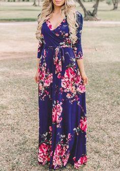 93cdfaa194cf Sapphire Blue Floral Pattern Sashes Draped 3/4 Sleeve Deep V-neck Bohemian Maxi  Dress