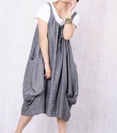 Leap of the heart/ Lovely dark gray linen dress. $69.00, via Etsy.