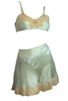 Boudoir Beauty Soft Aqua Silk Bra and Tap Pants Set circa 1930s