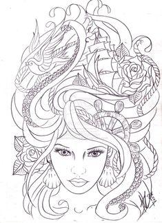 maritime hair tattoo sketch by Nevermore-Ink.deviantart.com on @deviantART