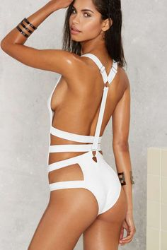 23f5c83297db5 Nasty Gal Strapped Out Plunging Swimsuit - White - Clothes