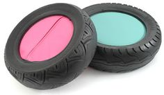 recycled tyre seat...painted in a bright color.. Just add seat...