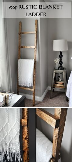 Rustic Blanket Ladder / Learn how to make a DIY Blanket Ladder. With only 3 basic tools you can save space while neatly storing your blankets.