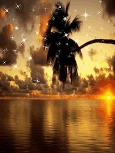 Закат и звёзды - Закат и звёзды gif анимация.