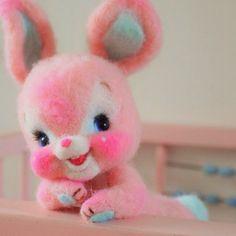 Pink needle felted bunny