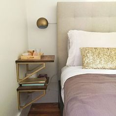 went with IKEA brackets sprayed gold + wood. Two shelves for all her bedside essentials. Best Ikea Hacks, Home Bedroom, Bedroom Decor, Ikea Hack Bedroom, Bedrooms, Ikea Nightstand, Narrow Nightstand, Nightstand Ideas, Bedroom Night Stands